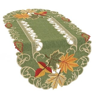 Delicate Leaves Embroidered Cutwork Fall Table Runner, 16 by 34-Inch