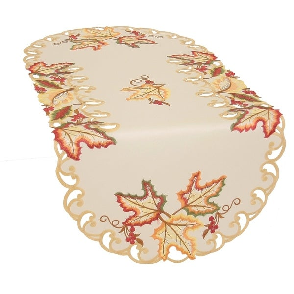 Shop Moisson Leaf Embroidered Cutwork Fall Table Runner