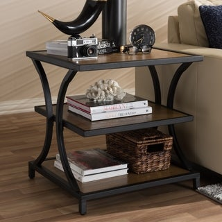 Baxton Studio Brown and Black Rustic End Table