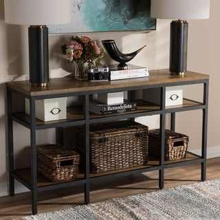 Baxton Studio Rustic Brown Wood and Black Metal Console Table