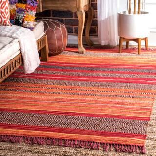 nuLoom Contemporary Handmade Tribal Stripes Tassel Orange Cotton, Polyester Rug (5' x 8')|https://ak1.ostkcdn.com/images/products/18228039/P24368550.jpg?impolicy=medium
