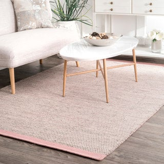 Nuloom Pink Wool/Cotton Handmade Causal Solid Border Area Rug (7'6 x 9'6)