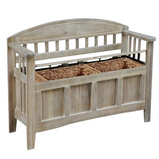 Linon Leslie Natural Finish Wood Storage Bench