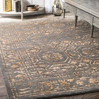 nuLoom Tradtional Gold Antique Intricate Tiles Medallion Rug (8' x 10')