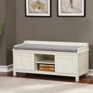 Linon Edison Lakeville White Metal/Wood Cushioned Storage Bench