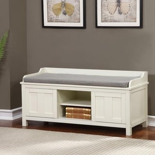 Linon Edison Lakeville White Metal/Wood Cushioned Storage Bench