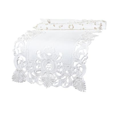 Delicate Lace Embroidered Cutwork Table Runner, 16 by 34-Inch