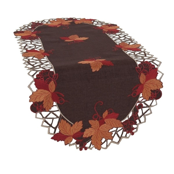 Harvest Hues Embroidered Cutwork Fall Table Runner, 16 by 34-Inch