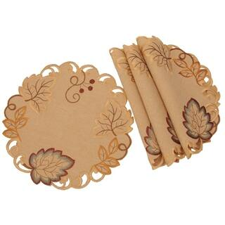 Harvest Verdure Embroidered Cutwork Fall Doilies 12 Inch Round Set Of 4