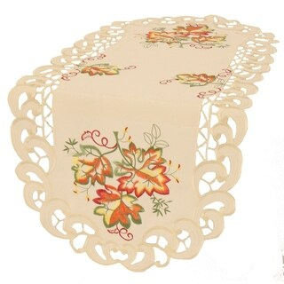 Thankful Leaf Embroidered Cutwork Fall Table Runner, 16 by 34-Inch