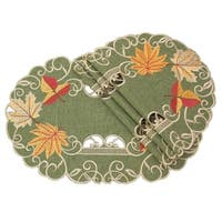 Delicate Leaves Embroidered Cutwork Fall Placemats, 13 by 19-Inch, Set of 4