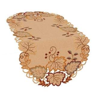 Harvest Verdure Embroidered Cutwork Fall Table Runner, 16 By 34 Inch