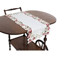 Lush Rosette Embroidered Cutwork Table Runner, 16 by 34-Inch