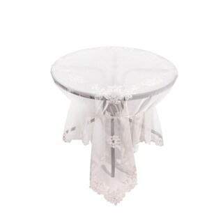 Delicate Daisies Lace Embroidered Tablecloth With Beaded Accents, 80 by 80-Inch