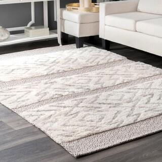nuLoom Grey Wool/Cotton Handmade Shag Abstract Area Rug (5' x 8')