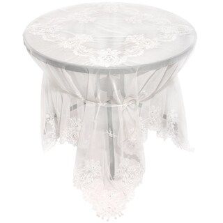 Paisley Lace Embroidered Tablecloth With Beaded Accents, 80 by 80-Inch