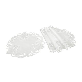 Delicate Lace Embroidered Cutwork Doilies, 12-Inch Round, Set of 4