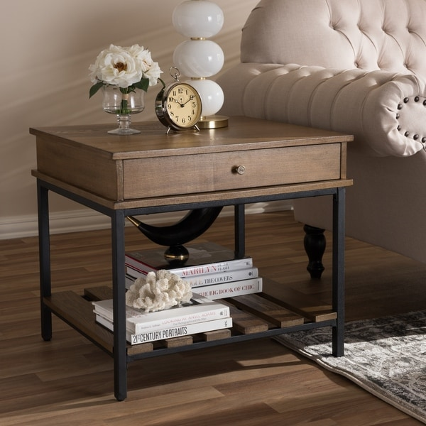 Rustic Brown and Black End Table by Baxton Studio