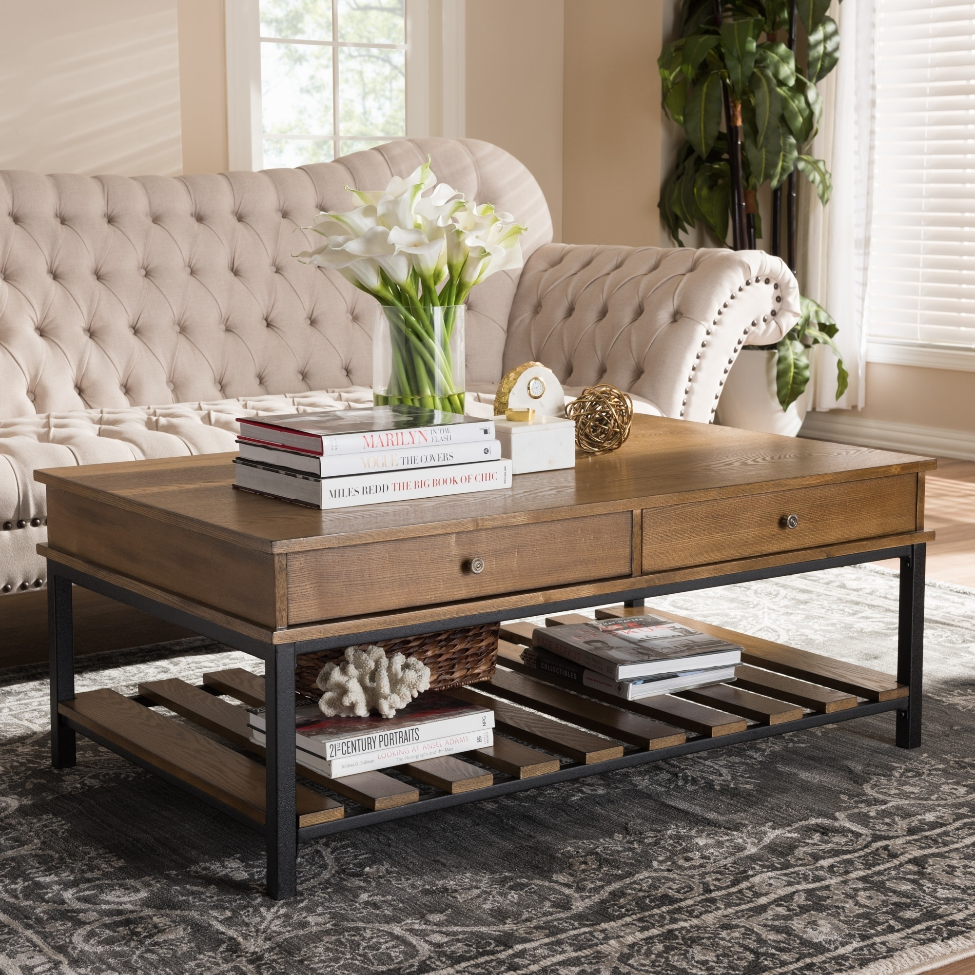 Shop Rustic Brown And Black Coffee Table By Baxton Studio Free
