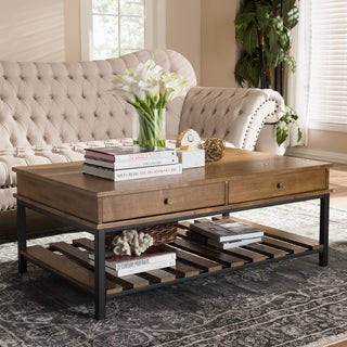 Rustic Brown and Black Coffee Table by Baxton Studio