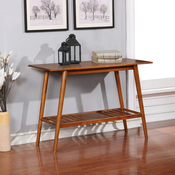 Linon Meade Brown-wood-finished Wood, Veneer, and Metal Console Table. Opens flyout.