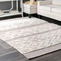 nuLOOM Moroccan Grey Wool/Cotton Handmade Shag Abstract Area Rug - 7'6 x 9'6
