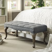 Leah Cabriolet Washed Gray Linen Bench