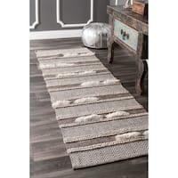 nuLOOM Handmade Causal Solid Chevron Stripes Wool/Cotton Brown Runner Rug - 2'6 x 8'