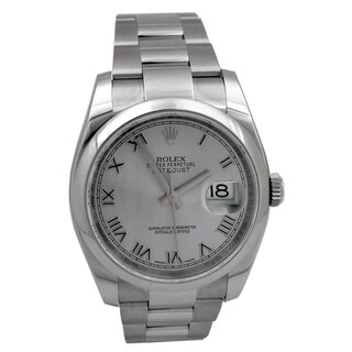 Pre-owned 36mm Rolex Stainless Steel Oyster Perpetual Datejust Watch with Rhodium Roman Numeral Dial