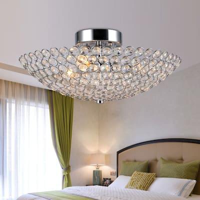 Marilla 3-Light 16-Inch Chrome Crystal Semi-Flush Mount - Silver