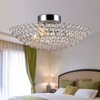 Marilla 3-Light 16-Inch Chrome Crystal Semi-Flush Mount