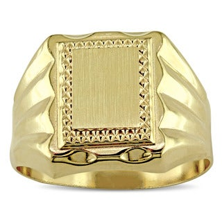 Miadora Signature Collection Men's 18k Yellow Gold Engravable Signet Ring