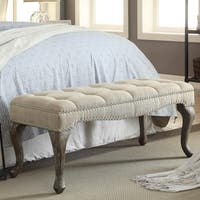 Linon Leah Cabriolet Washed Natural Linen Bench