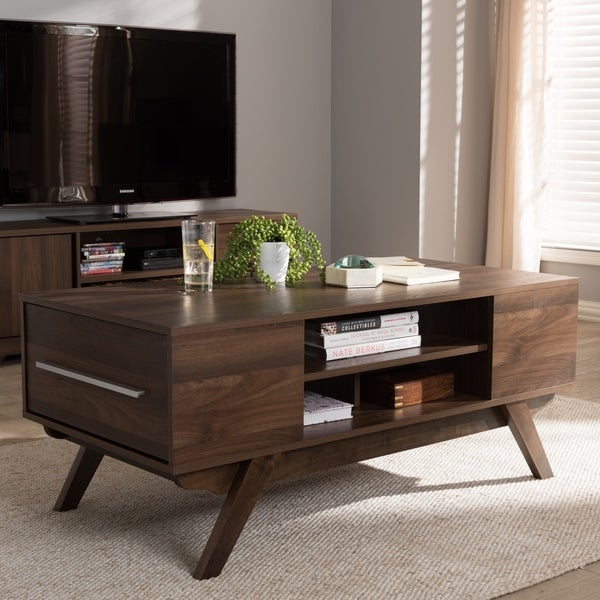 Coffee Table With Drawers Sale: Shop Mid-Century Brown 2-Drawer Coffee Table By Baxton