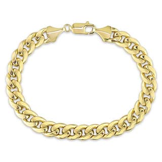 Miadora Signature Collection 10k Yellow Gold Men's Cuban Link Bracelet|https://ak1.ostkcdn.com/images/products/18228167/P24368594.jpg?impolicy=medium