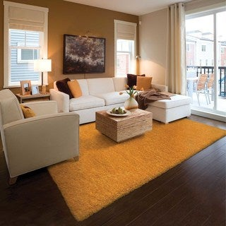 Indoor Gold Shag Area Rug (As Is Item)