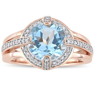 Miadora Signature Collection 14k Rose Gold Sky-Blue Topaz and 1/3ct TDW Diamond Halo Vintage Split S - Blue