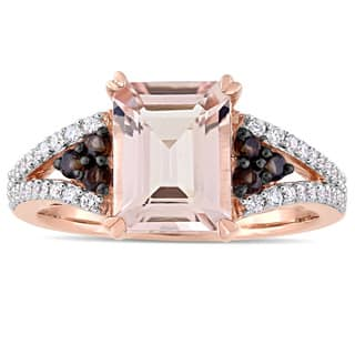 Miadora Signature Collection 14k Rose Gold Plated Morganite Smokey Quartz & 1/4ct TDW Diamond Split|https://ak1.ostkcdn.com/images/products/18228178/P24368646.jpg?impolicy=medium