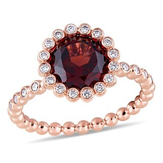 Miadora Signature Collection 14k Rose Gold Garnet and 1/4ct TDW Diamond Beaded Halo Solitaire Engagement Ring
