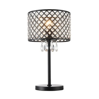 Ekua 1-Light Metal and Crystal Shade Table Lamp