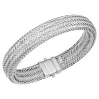 Fremada Italian Rhodium Plated Sterling Silver 14 millimeters Weaved Bracelet (7.5 inches)