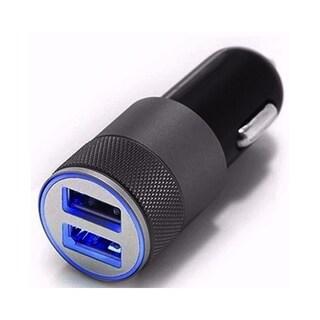 Dual USB Car Lighter Smartphone Charger Adapter Plug - Black