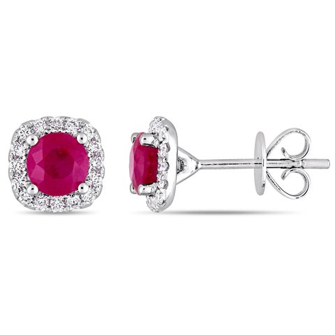 Miadora Signature Collection 14k White Gold Ruby and 1/4ct TDW Diamond Halo Stud Earrings