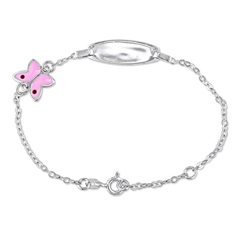 Miadora 18k White Gold Baby ID Pink Butterfly Adjustable Charm Bracelet
