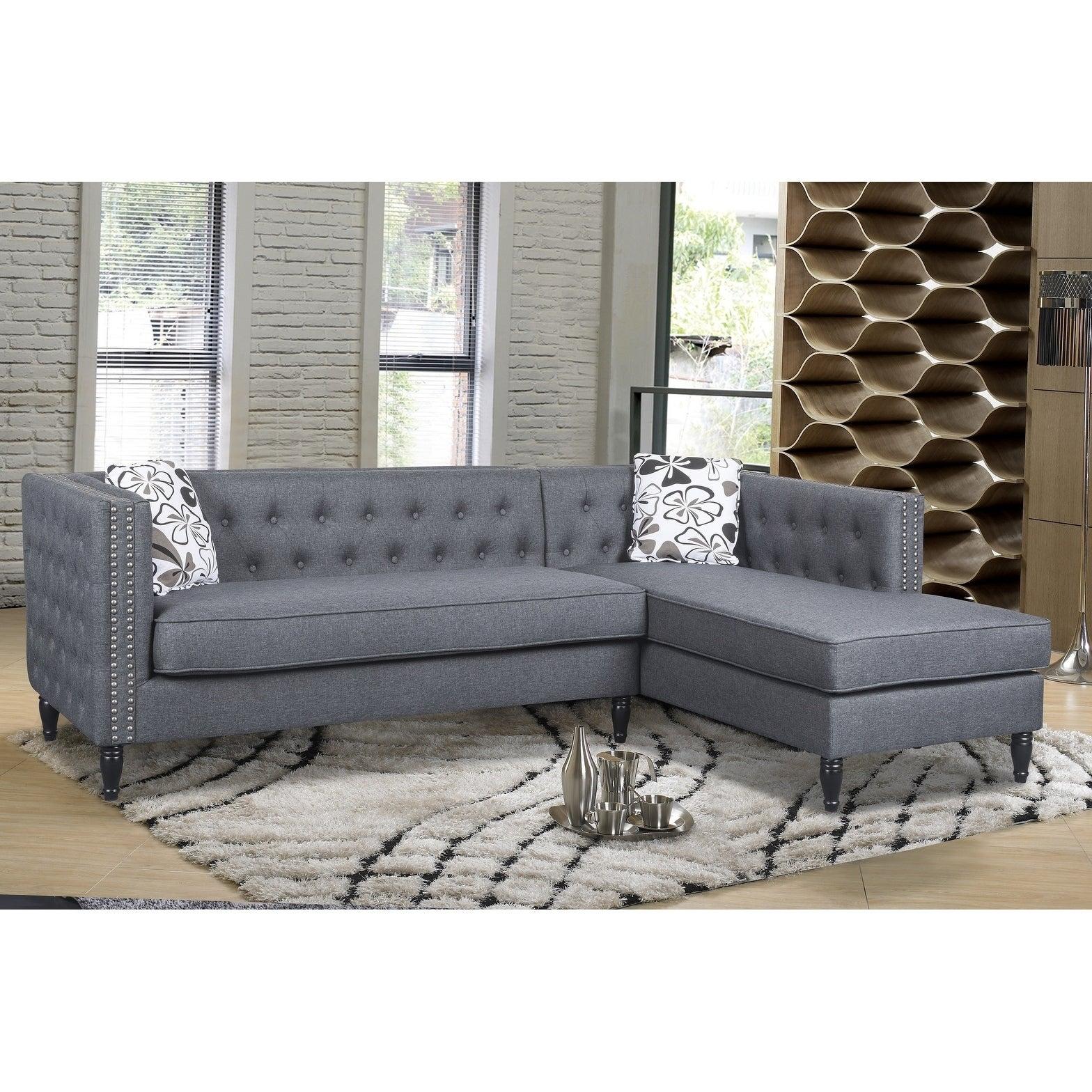 Us Pride Furniture Annie Tufted Nailhead Trim Right Facing Fabric  ~ Nailhead Trim Sectional Sofa