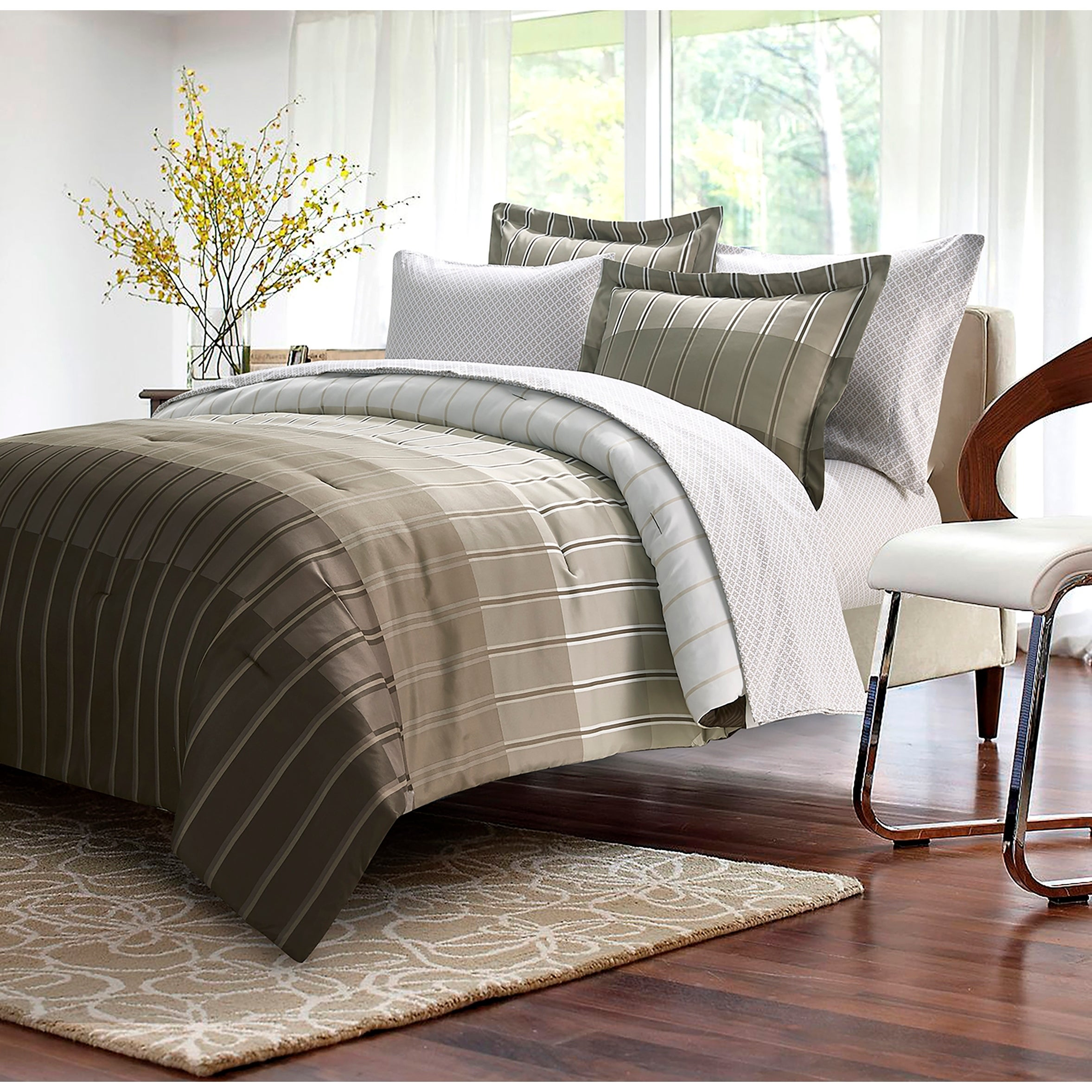 Brown Grey Ombre Stripe Taupe 8 Piece Bed In Bag Overstock 18228284