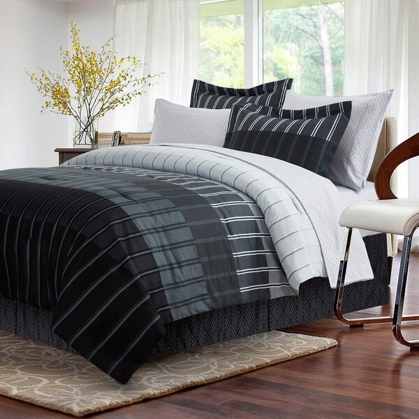 Brown & Grey Ombre Stripe Grey 8-piece Bed-In-Bag