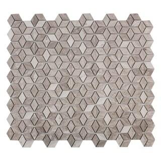 Maykke 11.31 x 9.47 -Inch Warren 3D Mosaic Wall Tile, White Wooden Marble (10 Tiles / 7.5 Sqft)