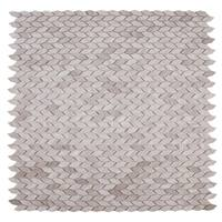 Maykke 12.06 x 12.06 -Inch Navi Leaf Mosaic Wall and Floor Tile White Wooden Marble (10 Tiles / 10 sqft)