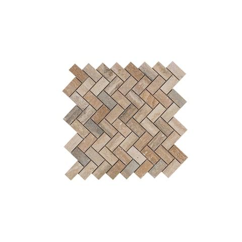 Maykke 12.06 x 12.06 -Inch Sadie Mosaic Wall and Floor Tile, Natural Travertine Marble (10 Tiles / 10 sqft)